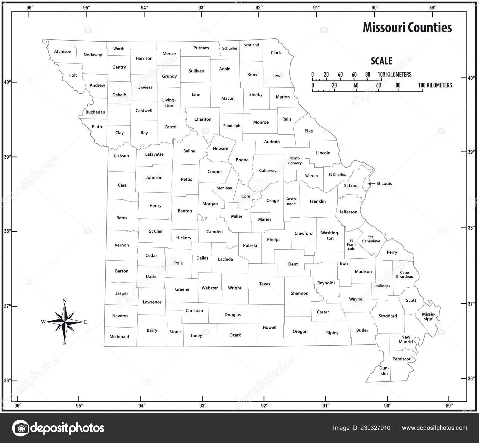 Missouri State Outline Administrative Political Vector Map Black