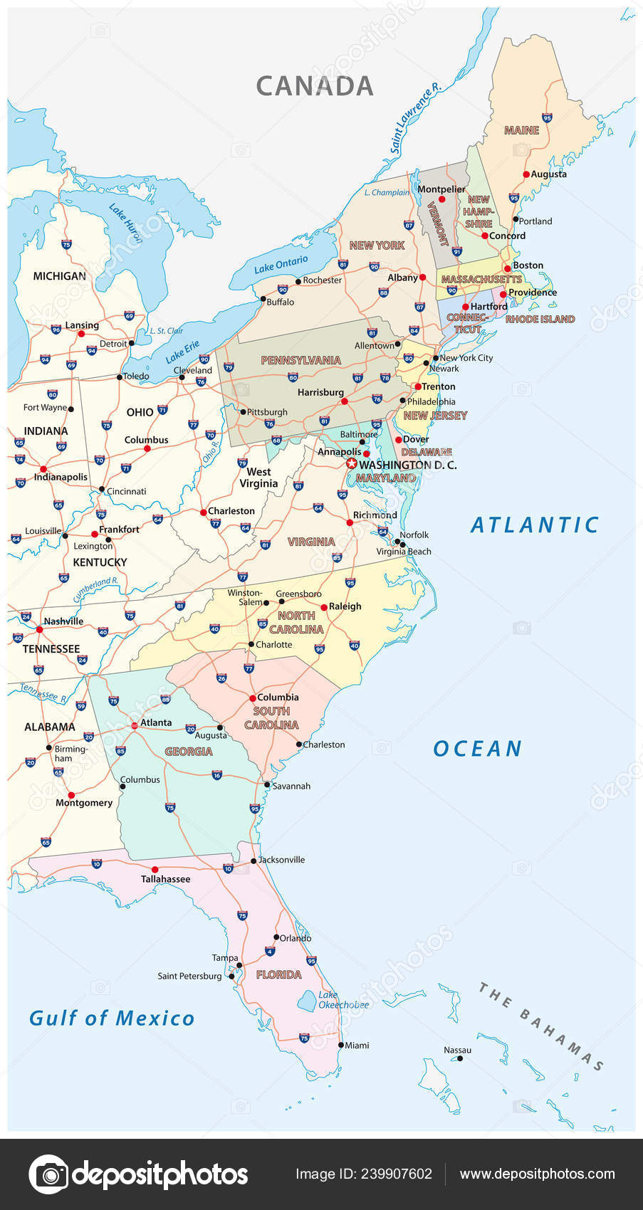 Vector Map East Coast United States — Stock Vector © Lesniewski ...