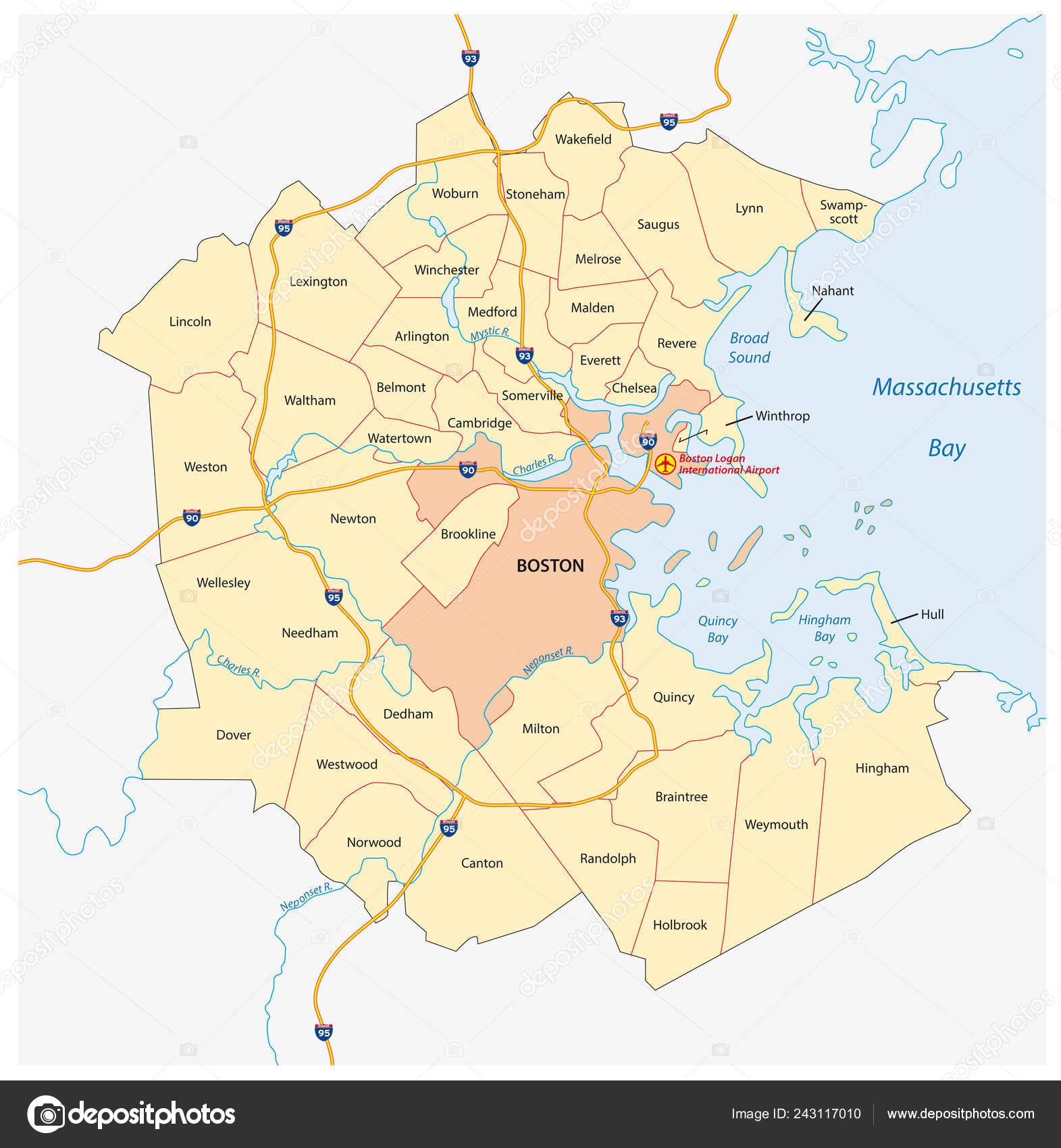 Vector Map Greater Boston Metropolitan Region Massachusetts United - Massachusetts-on-the-us-map