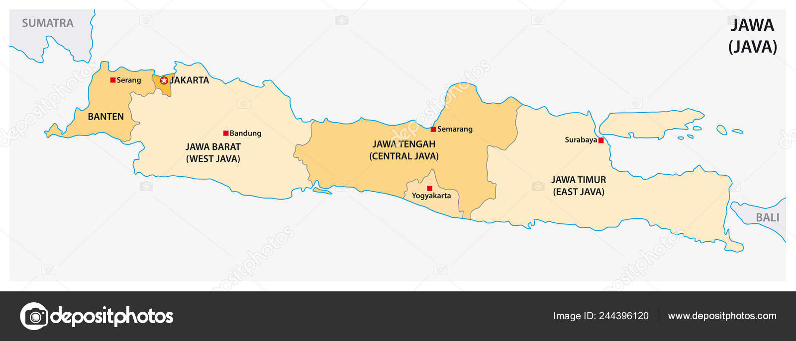 Simple Administrative Political Vector Map Indonesian Island ...