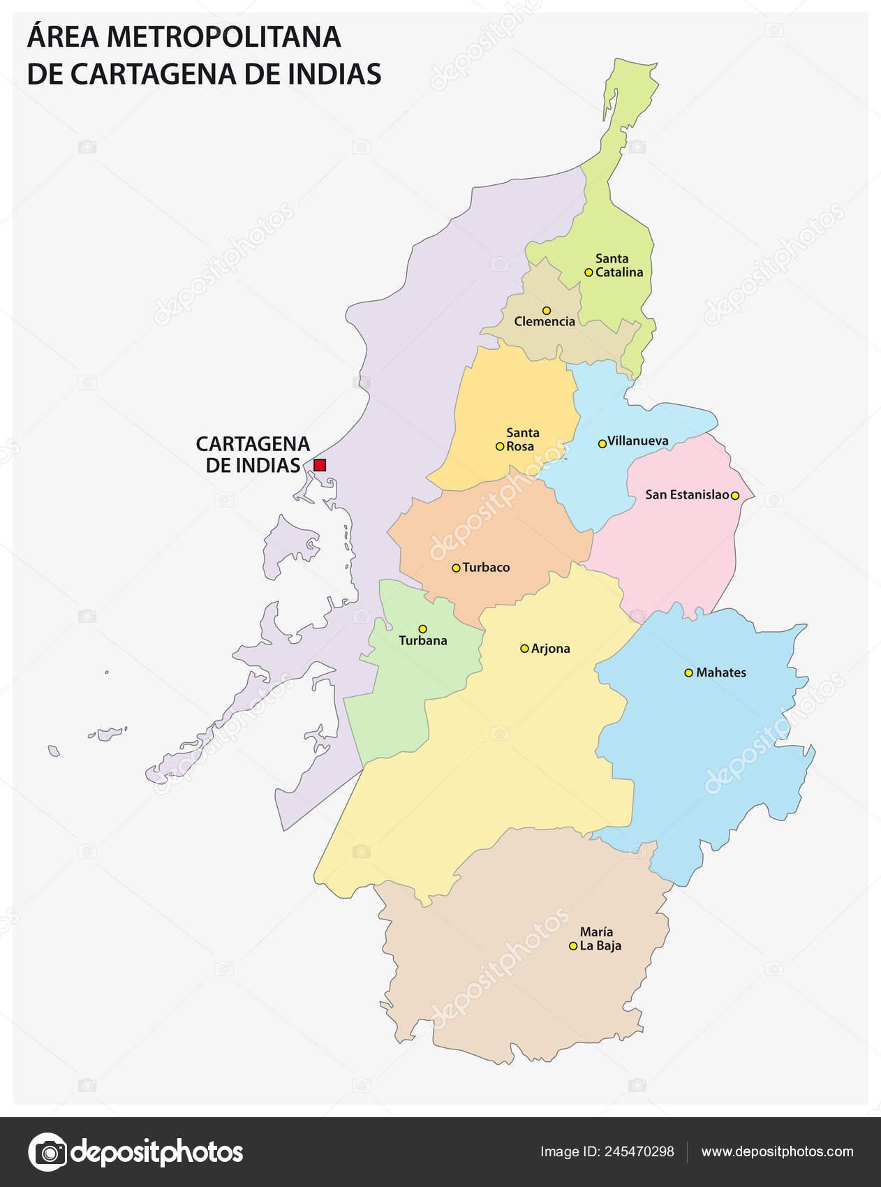 Administrative Political Vector Map Metropolitan Area Cartagena