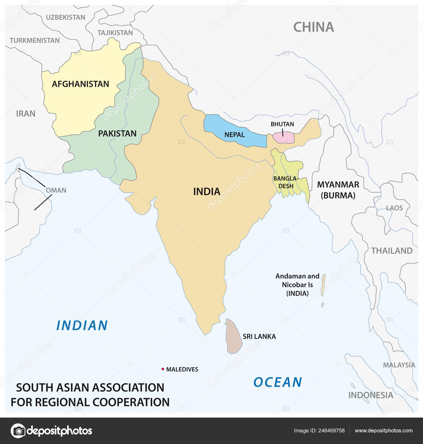 South Asian Association Regional Cooperation Saarc Vector ...
