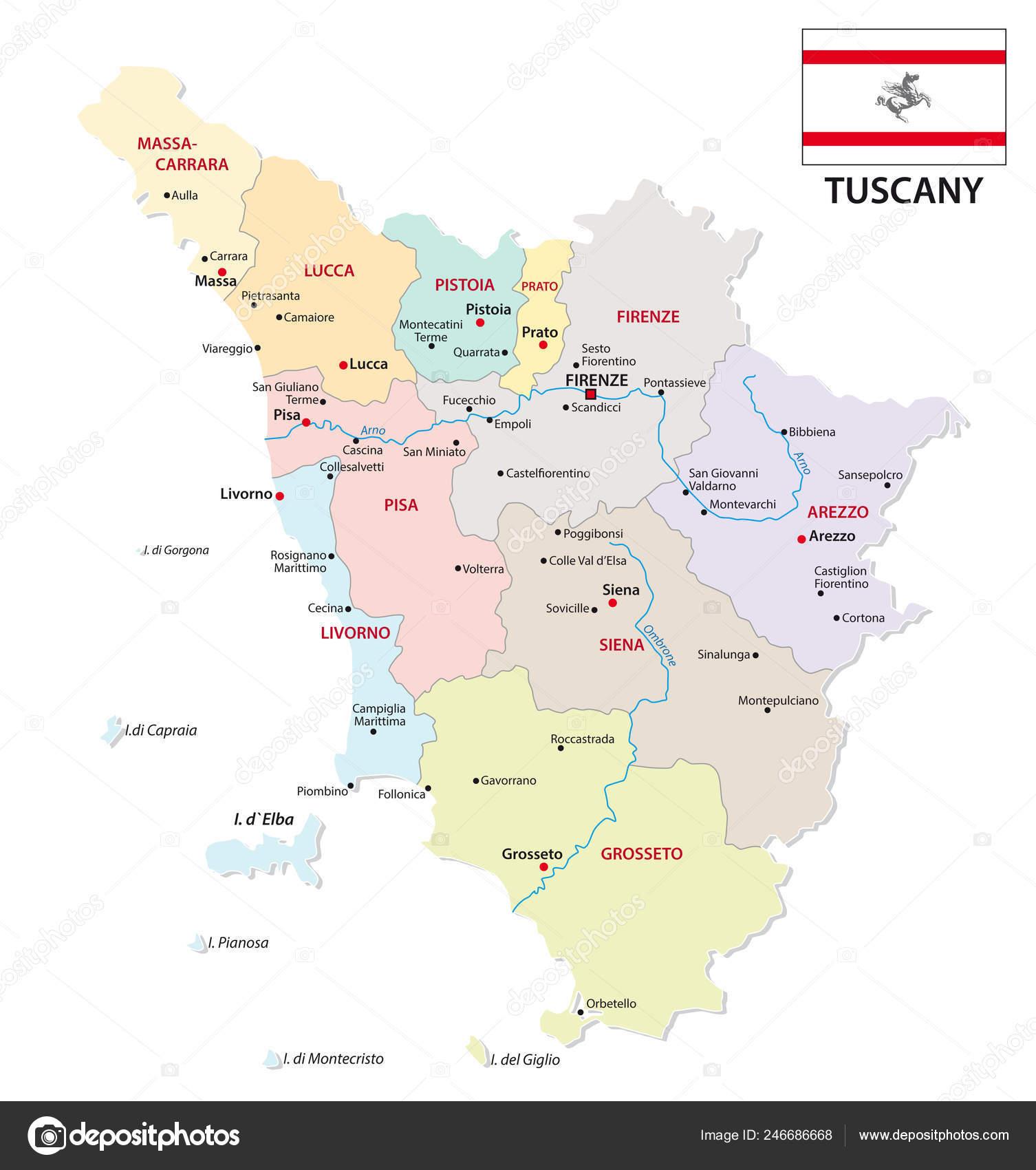 Toscana Politica Cartina Geografica.Mappa Amministrativa Politica Toscana Con Bandierina