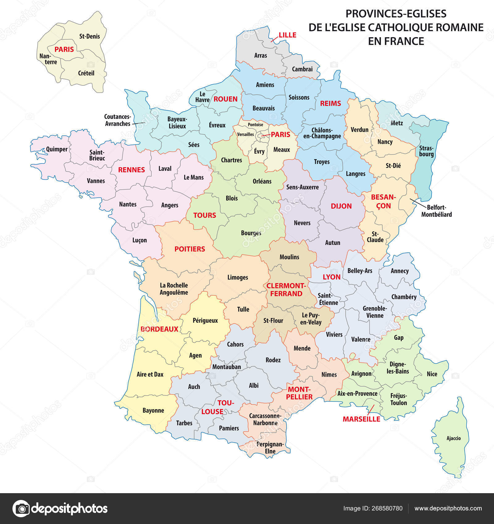 Map Of Provinces In France.Map Of The Roman Catholic Church Provinces In France Stock Vector