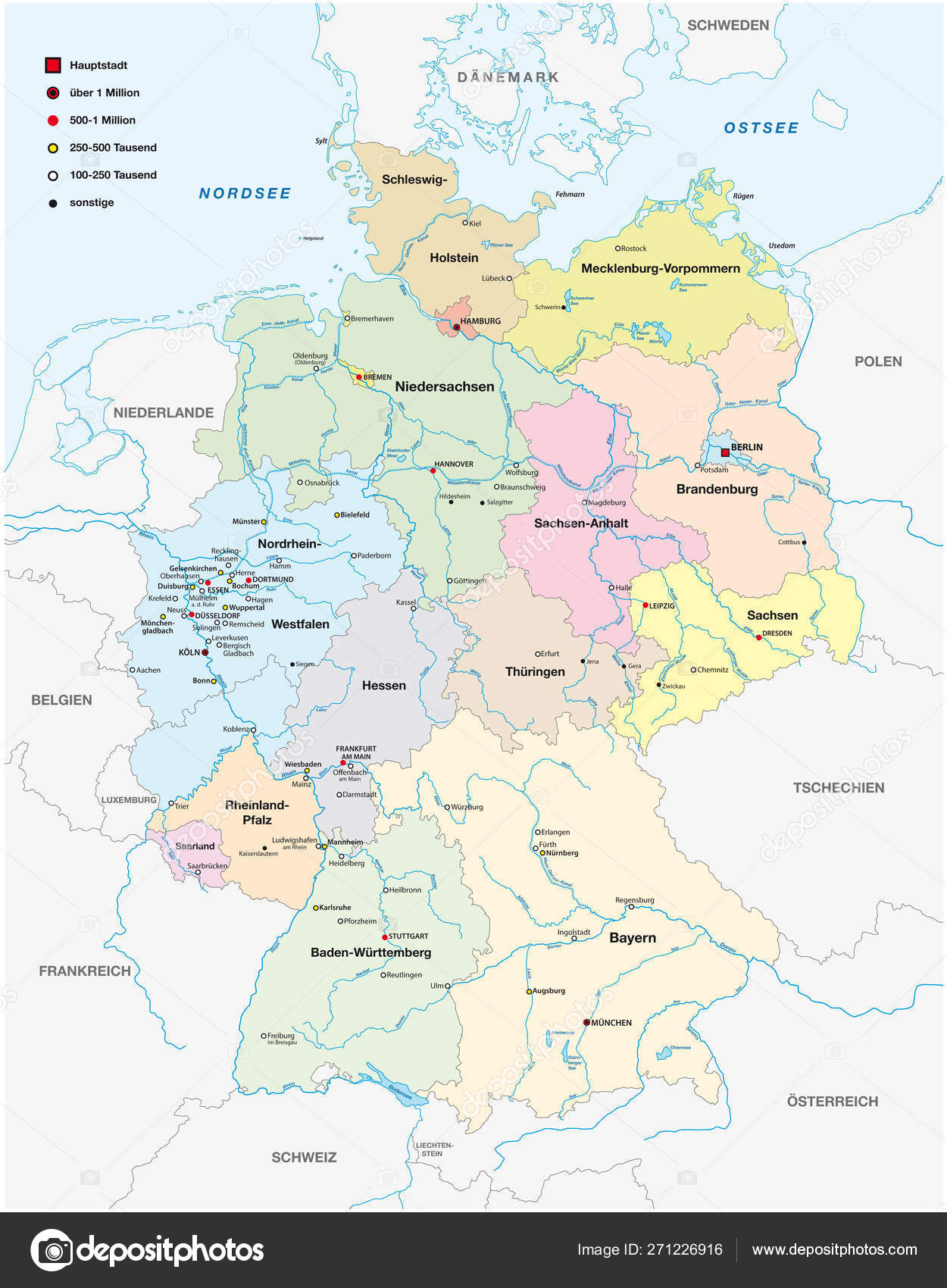 Map Of Germany Showing Cities.Map Of Germany With All Cities Over One Hundred Thousand Inhabit