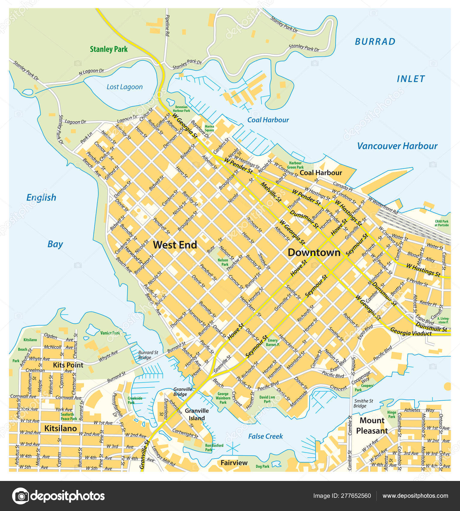 Detailed Map Of Canada.Detailed Street Map Of Downtown Vancouver British Columbia Canada