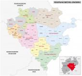 Verwaltungsvektorkarte der Region Arnsberg in deutscher Sprache, Nordrhein-Westfalen, Deutschland
