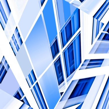 An abstract of high-rise office buildings in blue and white