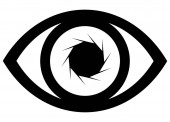 Eye icon illustration with lens effect in black on white