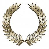 Laurel koszorú szimbólum texturált arany elszigetelt fehér