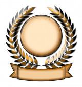 Arany babérkoszorú díja embléma zászlóval elszigetelt fehér