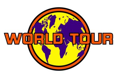 A World Tour sign in orange, yellow and purple isolated on white