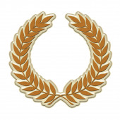 An embossed laurel wreath symbol in gold