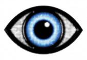 Ikona oka s modrou oční bulvou s polotónovým efektem izolovaným na bílém