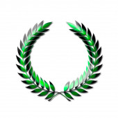 An abstract laurel wreath symbol in green isolated on a white background