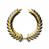An abstract laurel wreath symbol in gold isolated on a white background