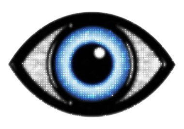 Eye icon with blue eyeball with halftone effect isolated on white stock vector