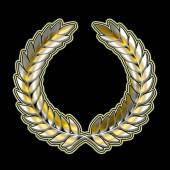 A babérkoszorú absztrakt szimbólum arany ragyogó hatással elszigetelt fekete alapon