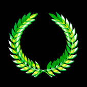 A laurel wreath abstract symbol in green isolated on a black background