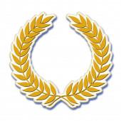 Egy arany babérkoszorú szimbólum 3D-s illusztráció elszigetelt fehér háttér