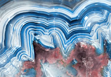 Banded agate chalcedony macro in blue