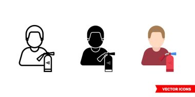 Firefighter icon of 3 types. Isolated vector sign symbol. icon