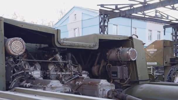 Close-up of the engine of a large military tractor from the rocket launcher.Preserved old decommissioned military missile systems. Close up.