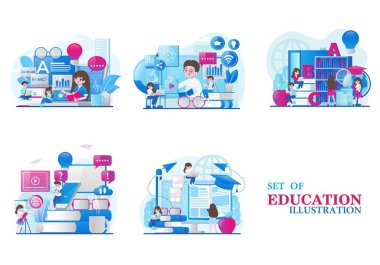 Collection of themed designs on education and online learning. tiny people illustration. Vector illustration icon