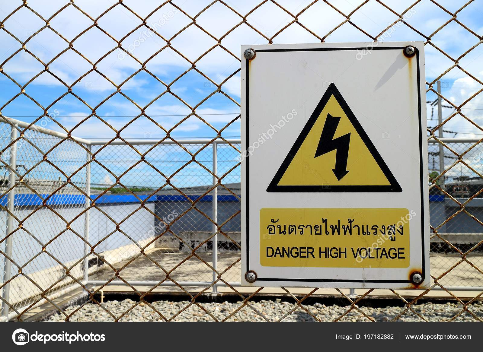 Rayong Thailand May 2018 Electrical High Voltage Sign Board – Stock