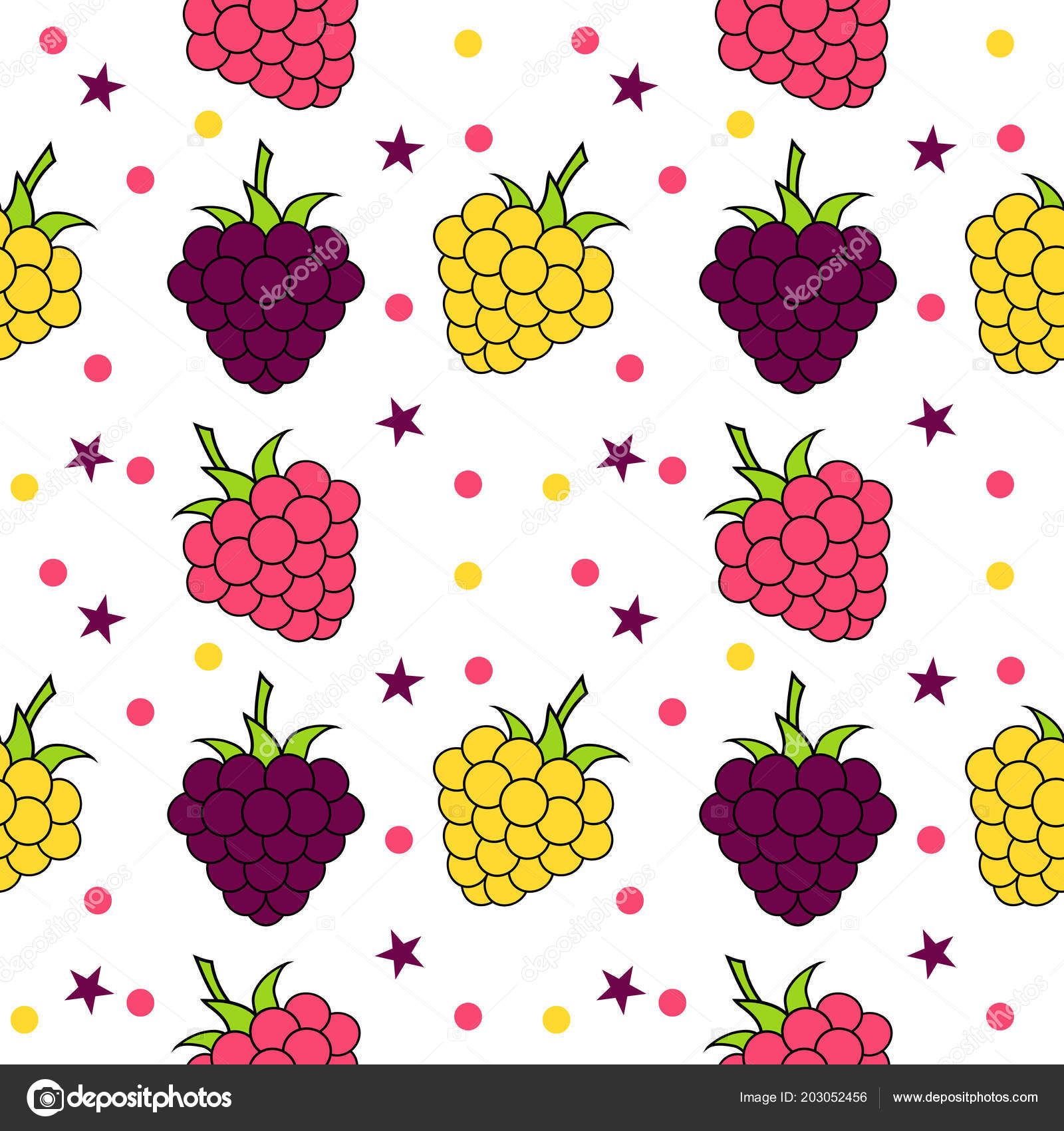 Seamless Background With Blackberry And Raspberry For Kitchen