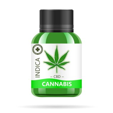 Realistic green glass bottle with cannabis. Mock up of hemp oil extracts, tablets or capsules in jars. Medical Marijuana logo on the label. Vector illustration.