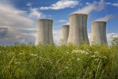 Cooling towers of nuclear power plant, summer day with cloudy sky, Dukovany, Czech Republic