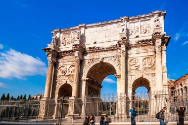 The Triumphal Arch of Constantine at the Forum in Rome in Lazio in Italy