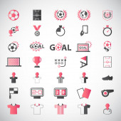Photo set of vector modern soccer football and sport flat icons