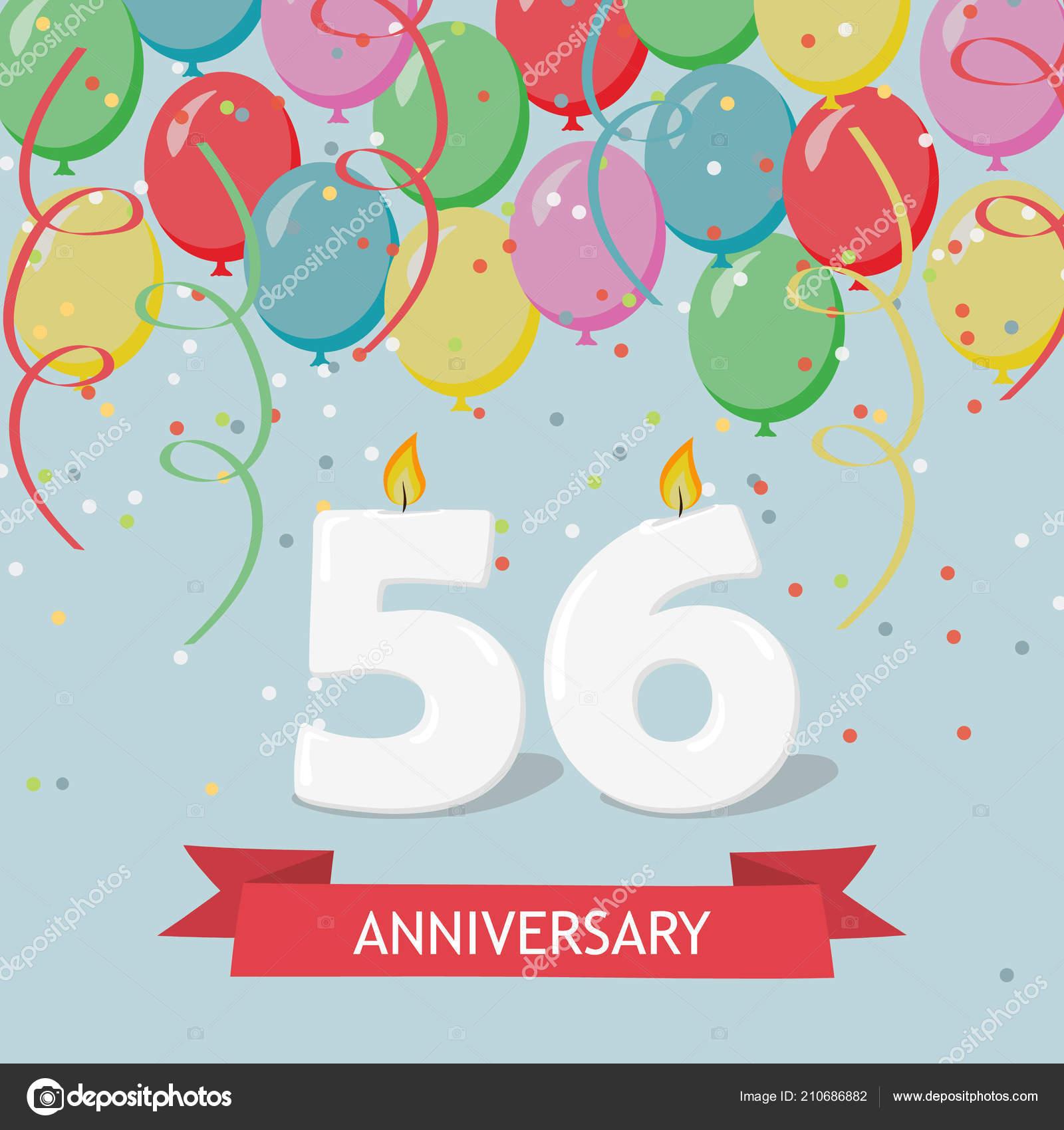 Verjaardag 56.Jaar Selebration Gelukkige Verjaardag Wenskaart Met Kaarsen