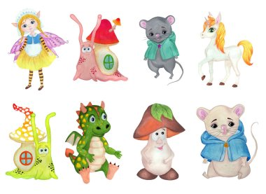 Set of cartoon animals characters. Mice, snails, fairy, unicorn, dragon and mushroom. Isolated on a white background. Children's hand-drawn watercolor illustration.