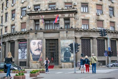 Belgrade,Serbia-July 12,2018.Facade of history Museum of Serbia.People standing in front of it.