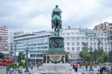 Belgrade,Serbia-July 12,2018.Image Prince's Mihailo statue from the back side.