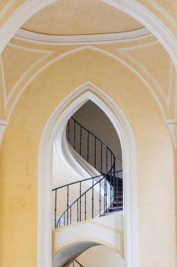 Gothic arch and spiraled staircase in catherdal in Sedlec, Kutna Hora, Czech Republic