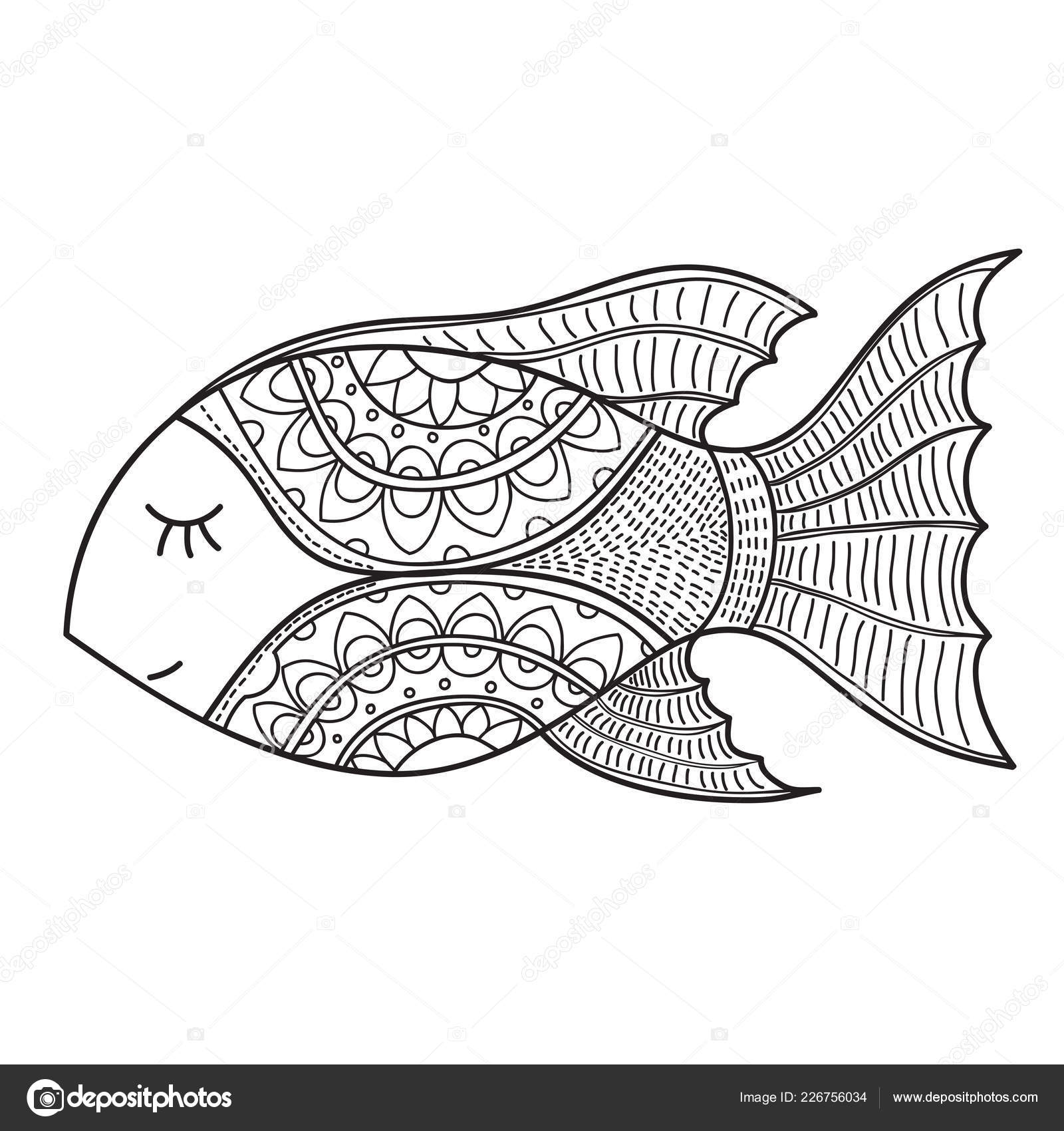 - Outline Fish Drawing Decorative Fish Drawing Abstract Ornaments