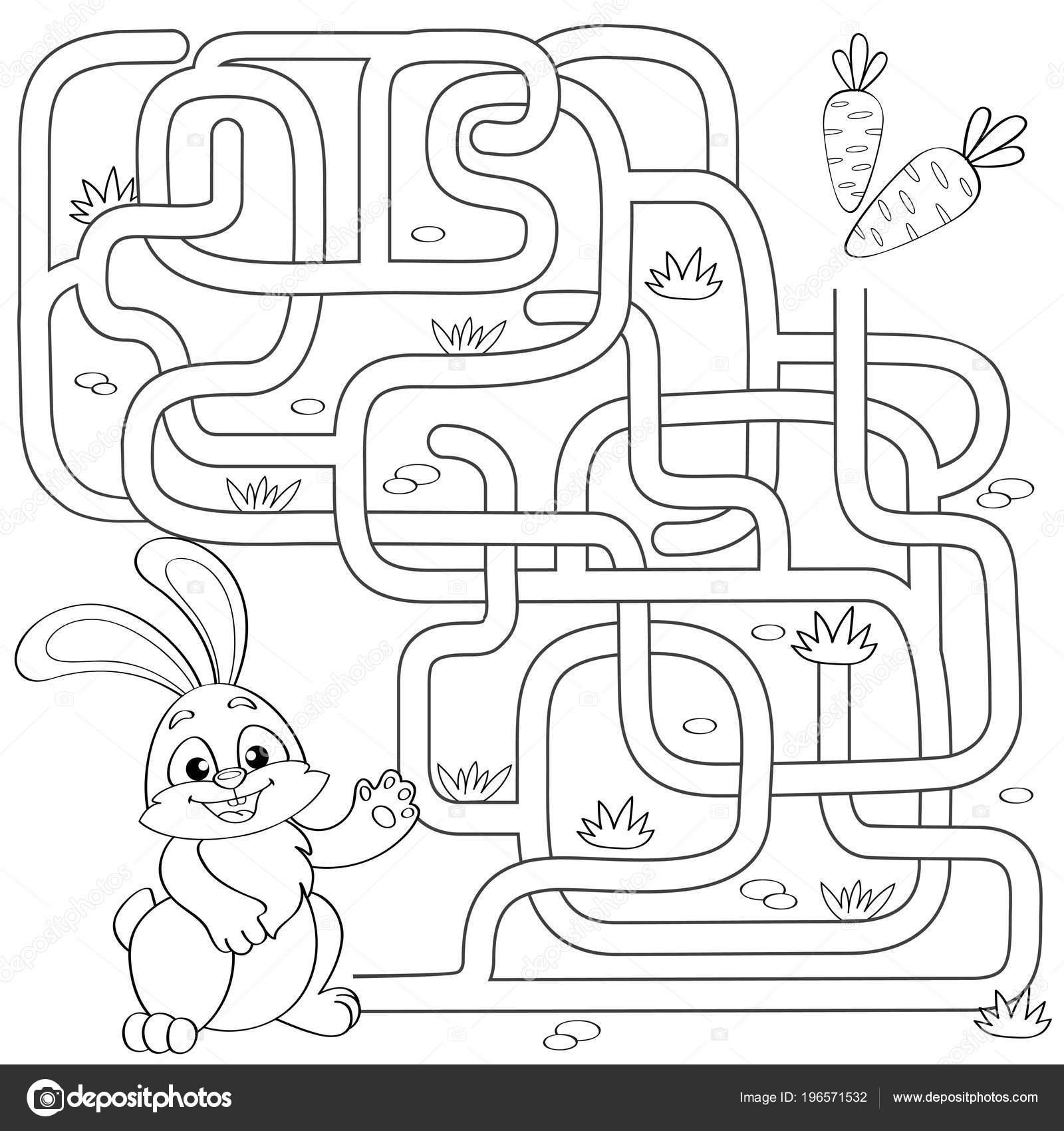 Küçük Tavşan Havuç Yolu Bulun Yardımcı Olur Labirent Maze