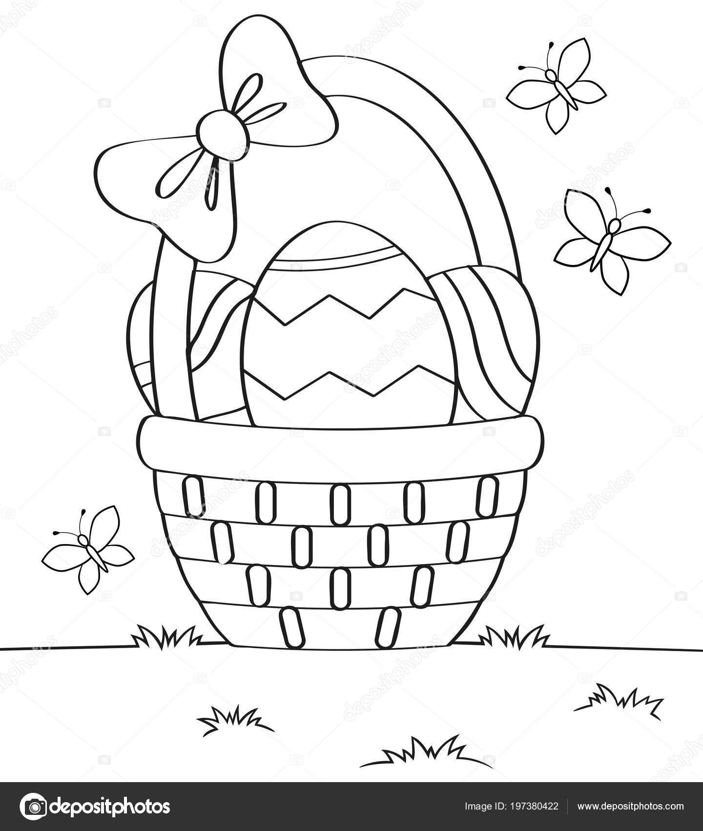 Basket Easter Eggs Black White Vector Illustration Coloring Book ...