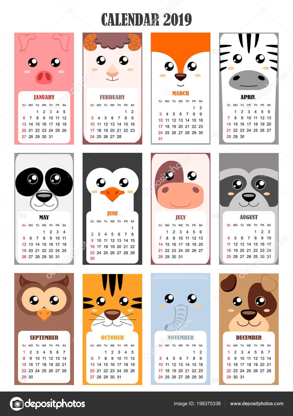 Calendario Tiger 2019.Calendar 2019 Pig Sheep Fox Zebra Panda Penguin Cow Raccoon