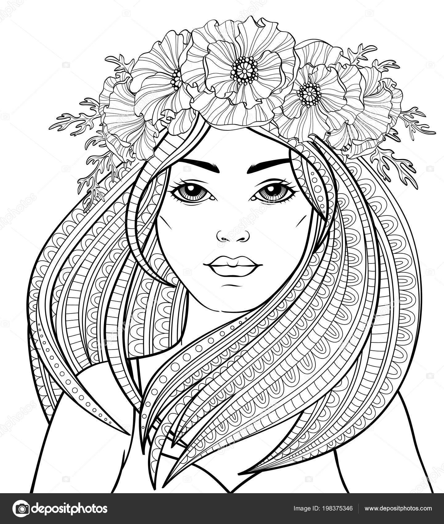 молодая красивая девушка длинными волосами мака венок