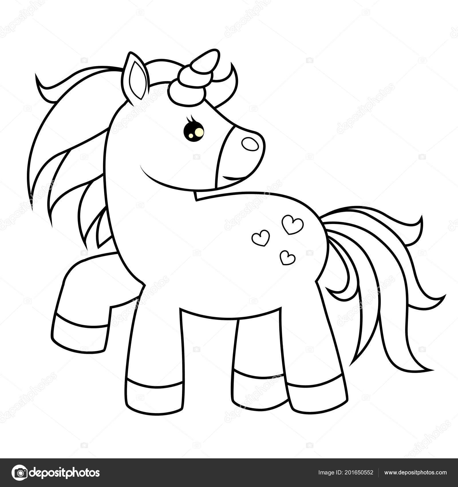 Unicornio Dibujos Animados Lindo Ilustración Vector Blanco
