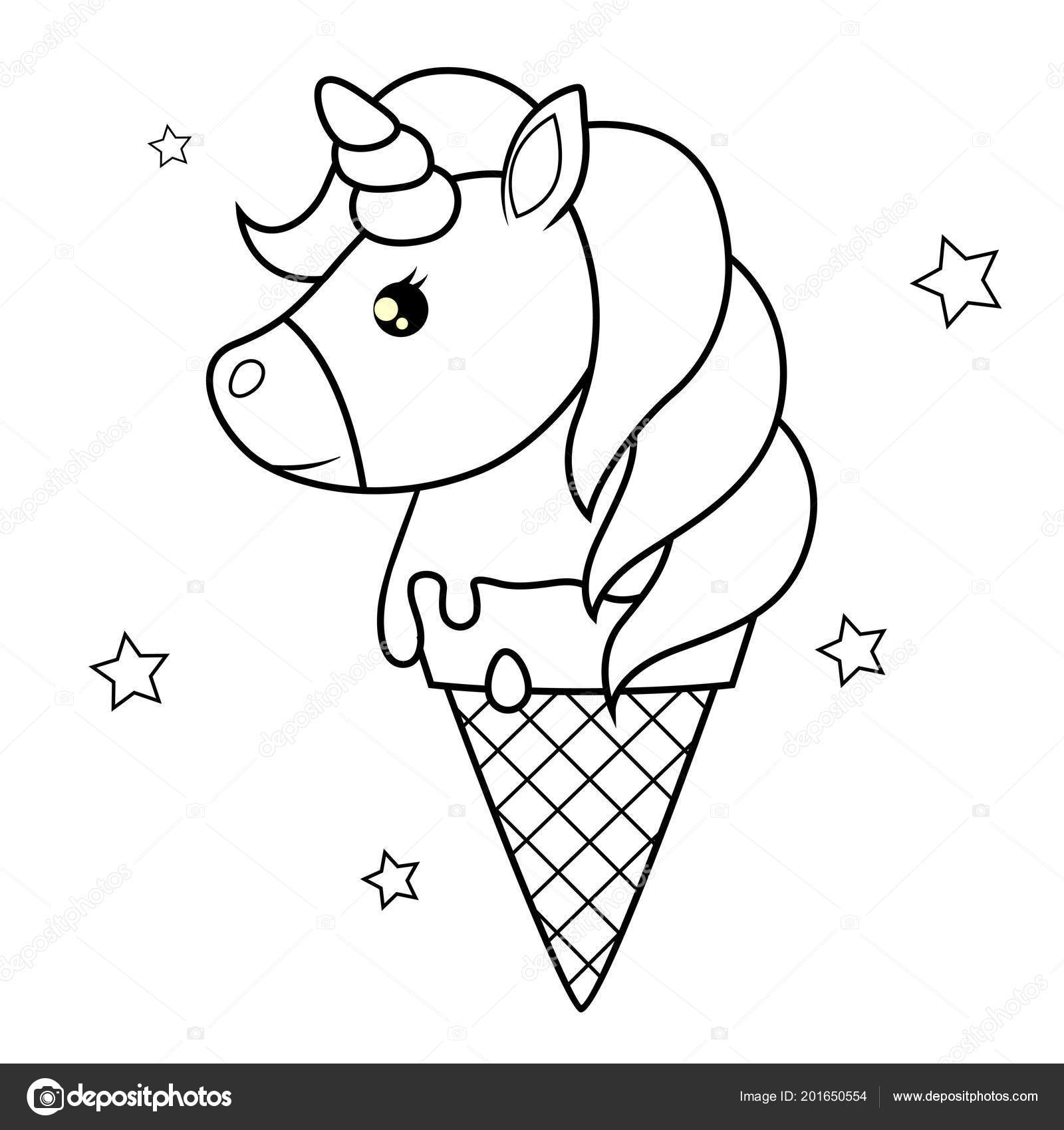 Sevimli çizgi Tek Boynuzlu Dondurma Boyama Kitabı Için Siyah Beyaz