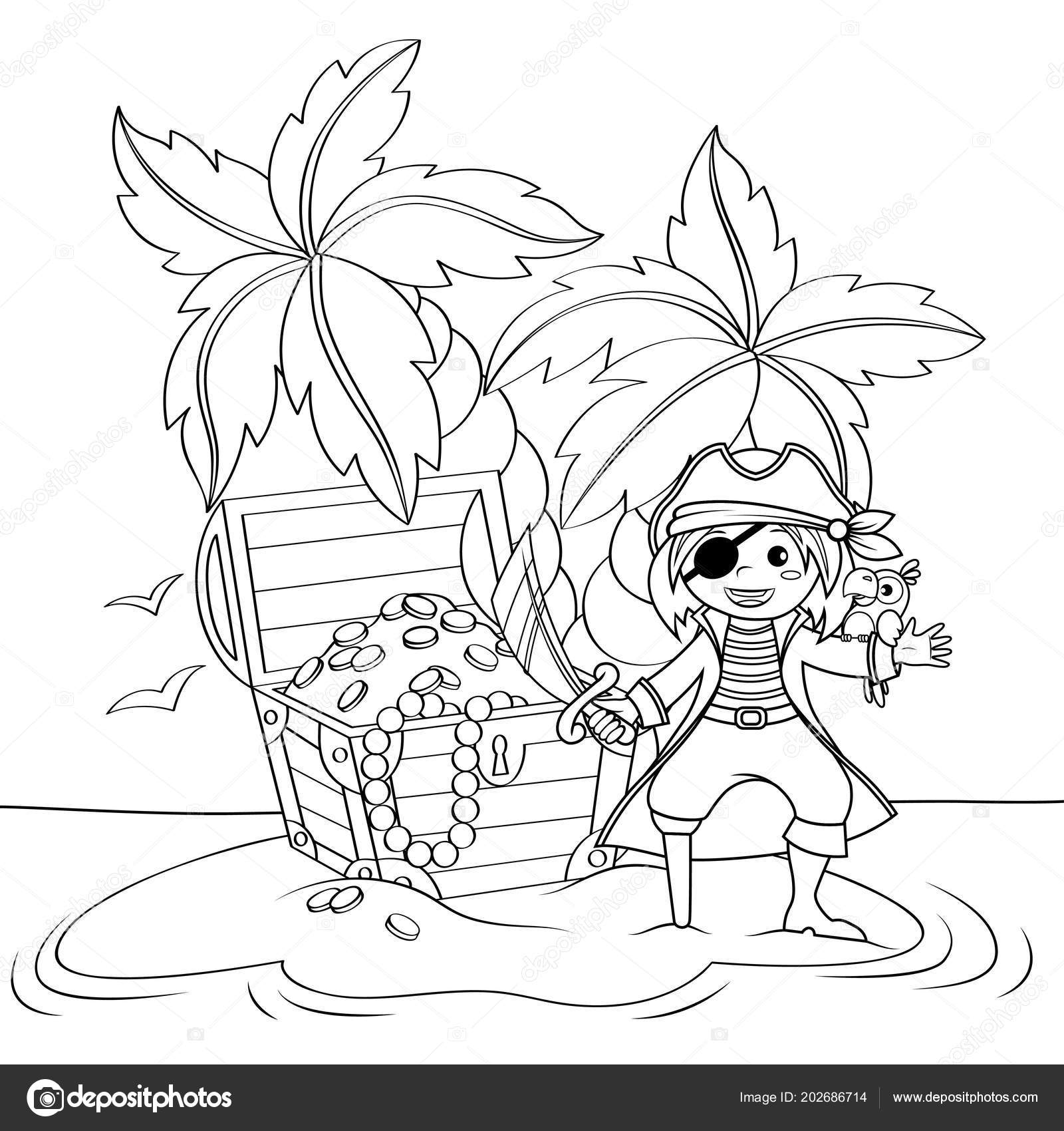 Cute Little Pirate Treasure Chest Deserted Beach Palm Trees Black ...