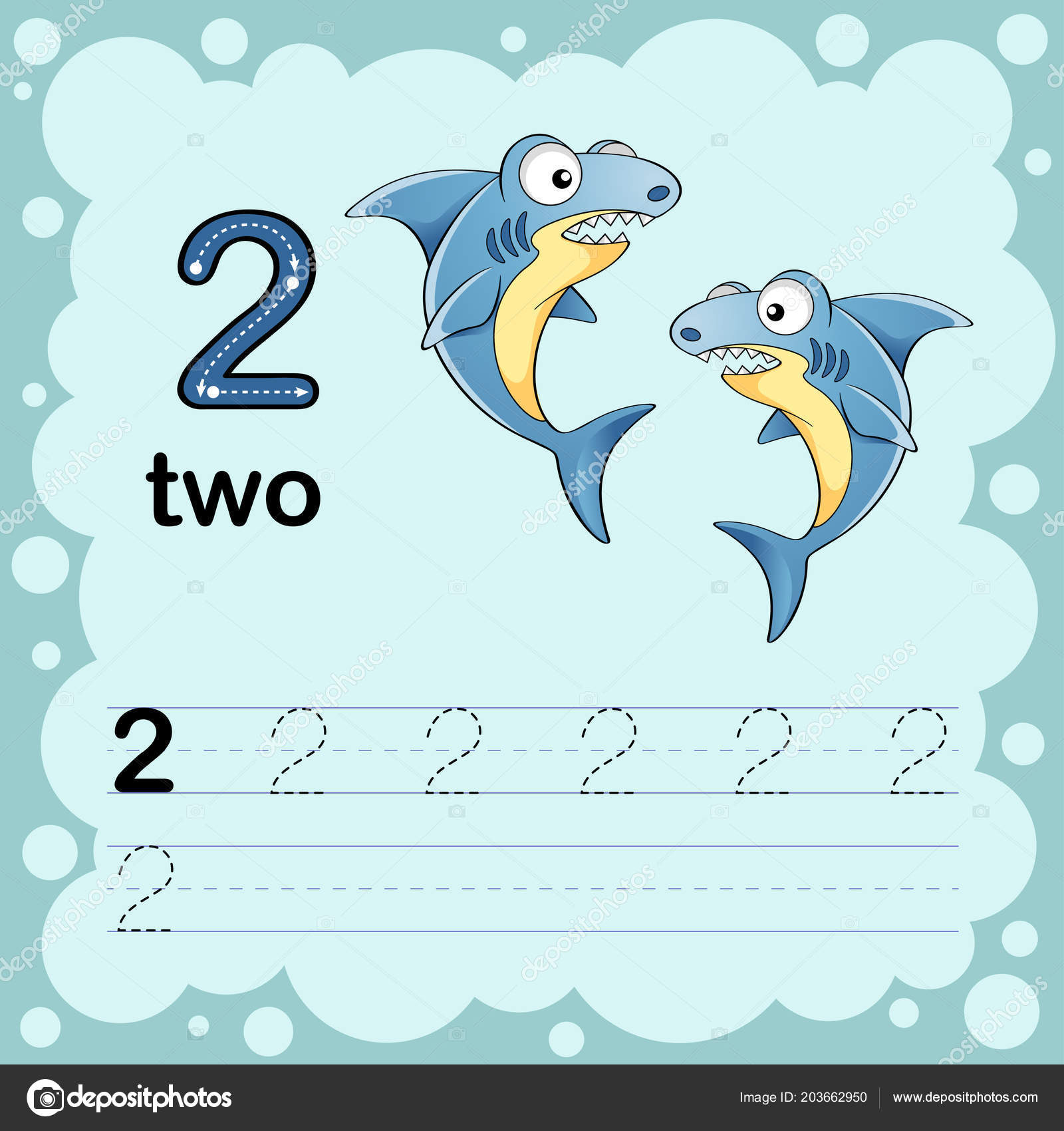 Educational Illustration Learn How Count Write Number Two Worksheet ...