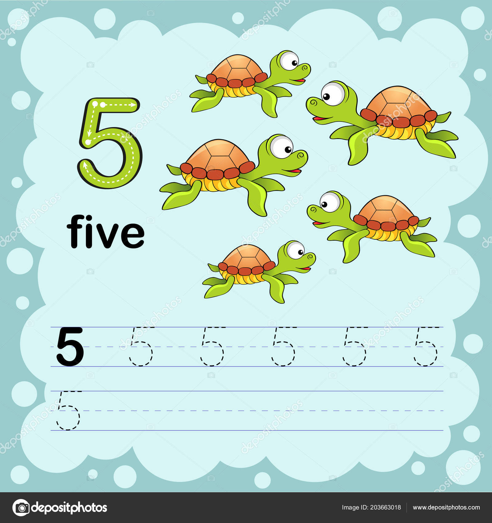 Educational Illustration Learn How Count Write Number Five Worksheet ...