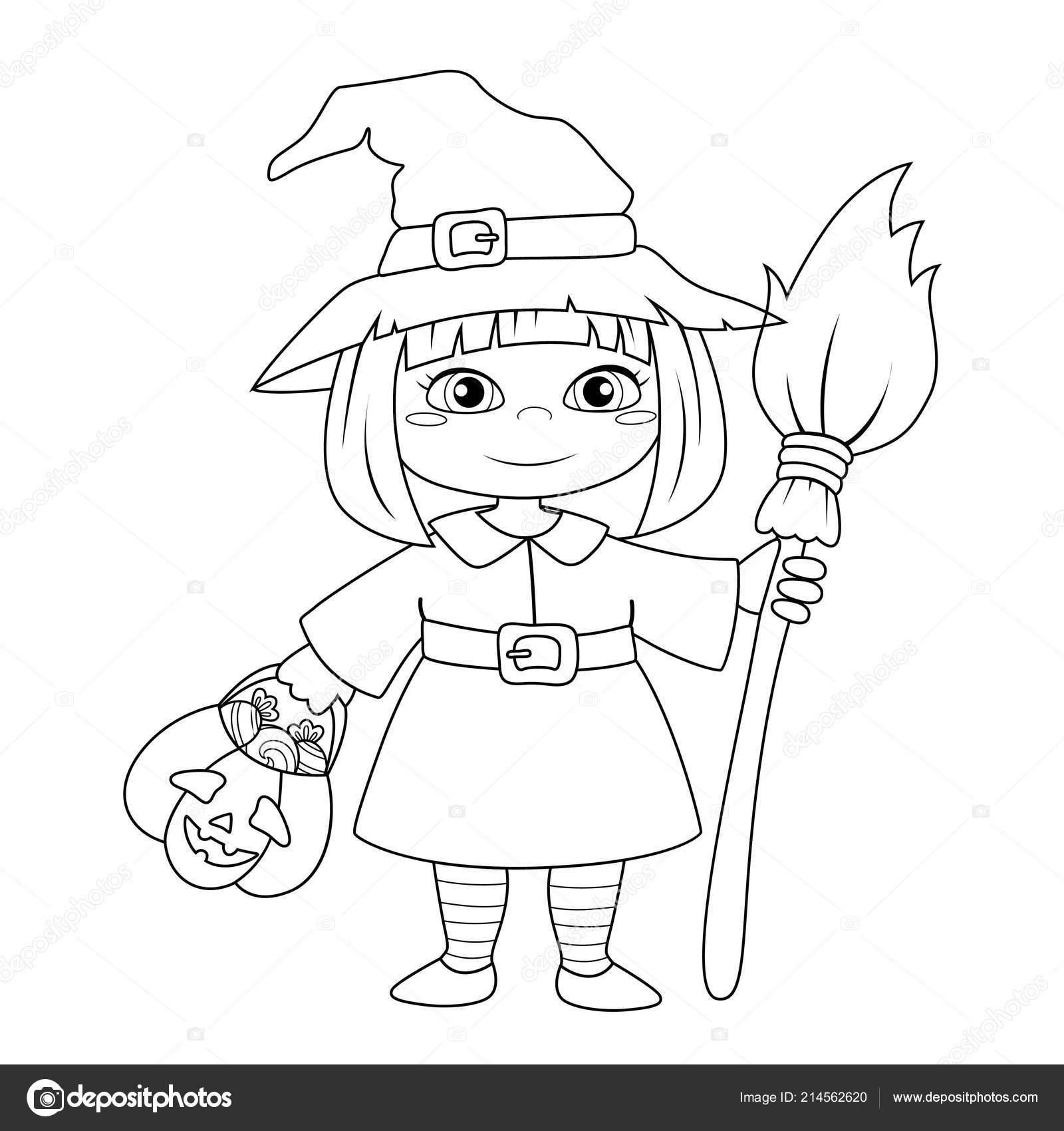 Linda Brujita Halloween Ilustración Vector Blanco Negro Para